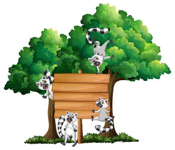 Träbräda mall med lemurer i bakgrunden