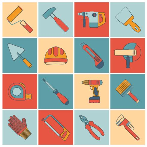 Repair construction tools flat line vector