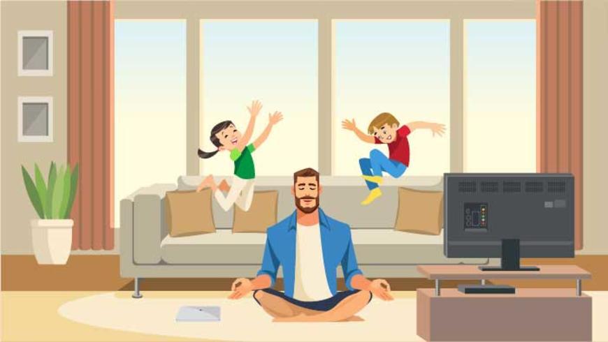 Les enfants jouent et sautent sur le canapé derrière un père de méditation calme et relaxant vecteur