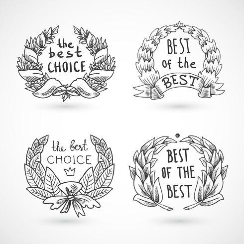 Conjunto de emblemas de grinalda