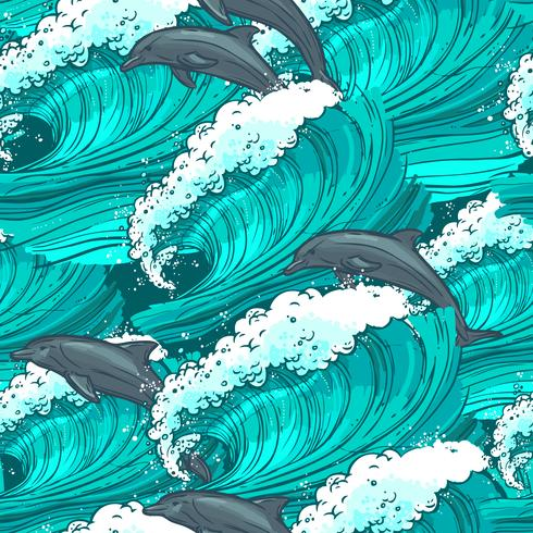 Sea waves seamless pattern vector