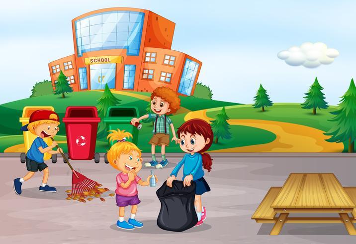 Estudante, limpeza, escola, área