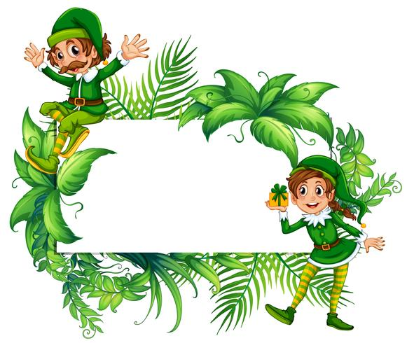 Border template with elves in green costume