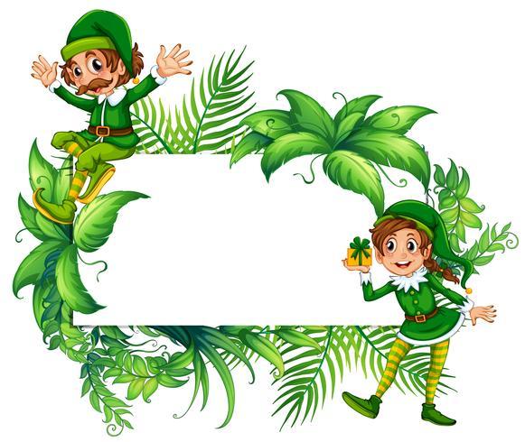 Gränsmall med älvor i grön kostym