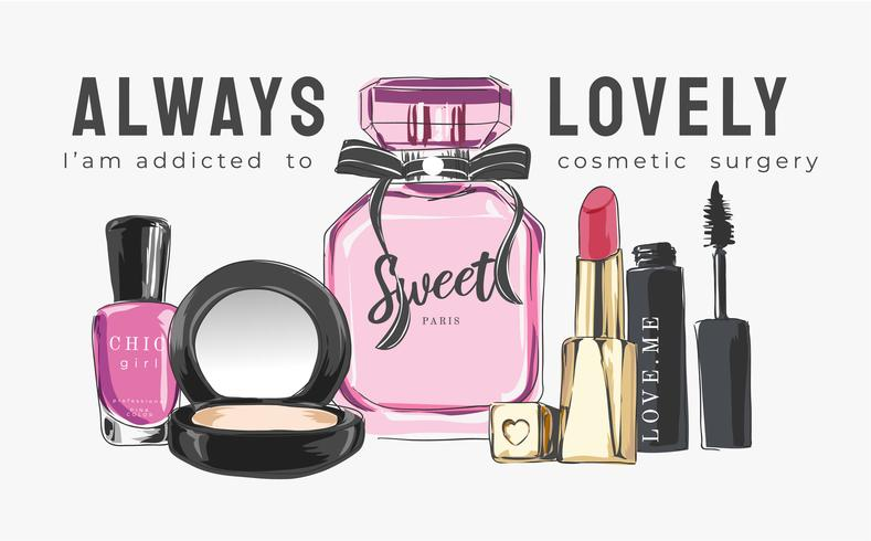 colección de ilustración cosmética con eslogan vector