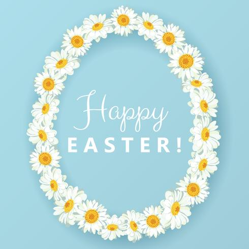 Happy easter card. Chamomile egg shape frame on blue background