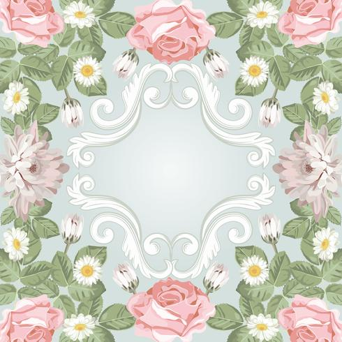 Beautiful floral frame. Template for your text or photo