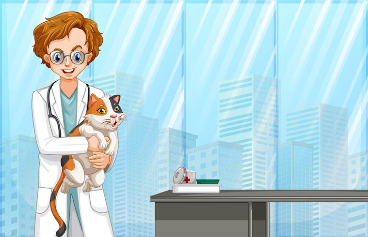 Veterinario y gato en el hospital