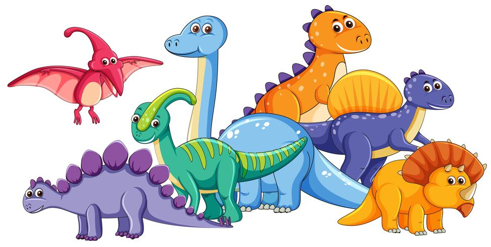 Group of cute dinosaur vector