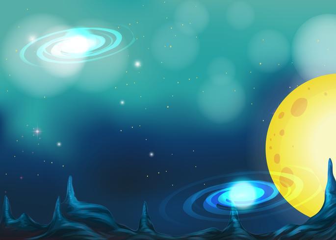 Hintergrunddesign mit Mond in der Galaxie