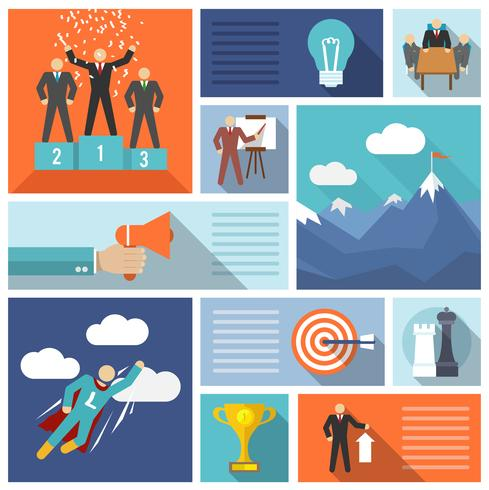 Leadership icons flat set vector