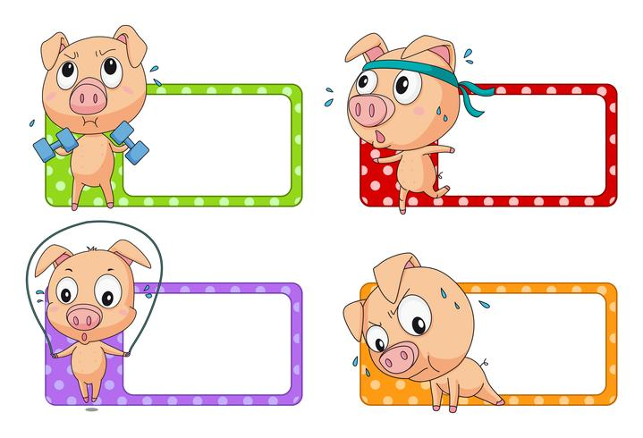 Disegno dell'etichetta con l'esercizio del maiale
