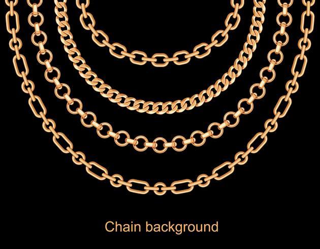 Fondo con cadenas doradas con collar metálico. En negro