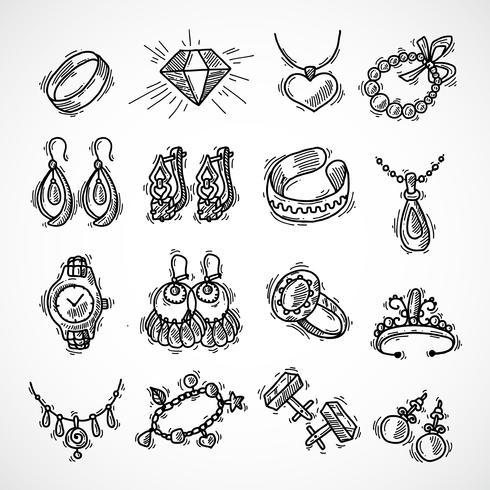 Conjunto de iconos de joyería vector