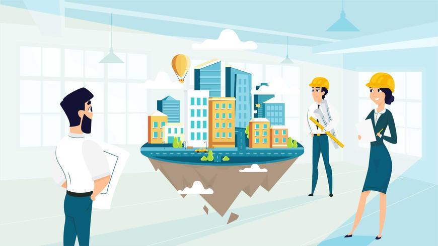 Gruppenarchitekten erstellen und Engineering-Projekt der Stadt