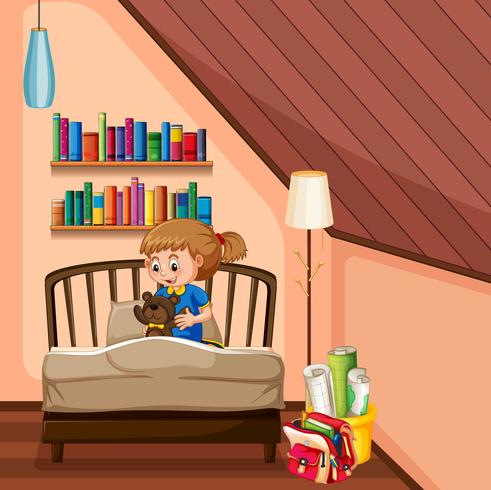 Niña y teddybear en dormitorio