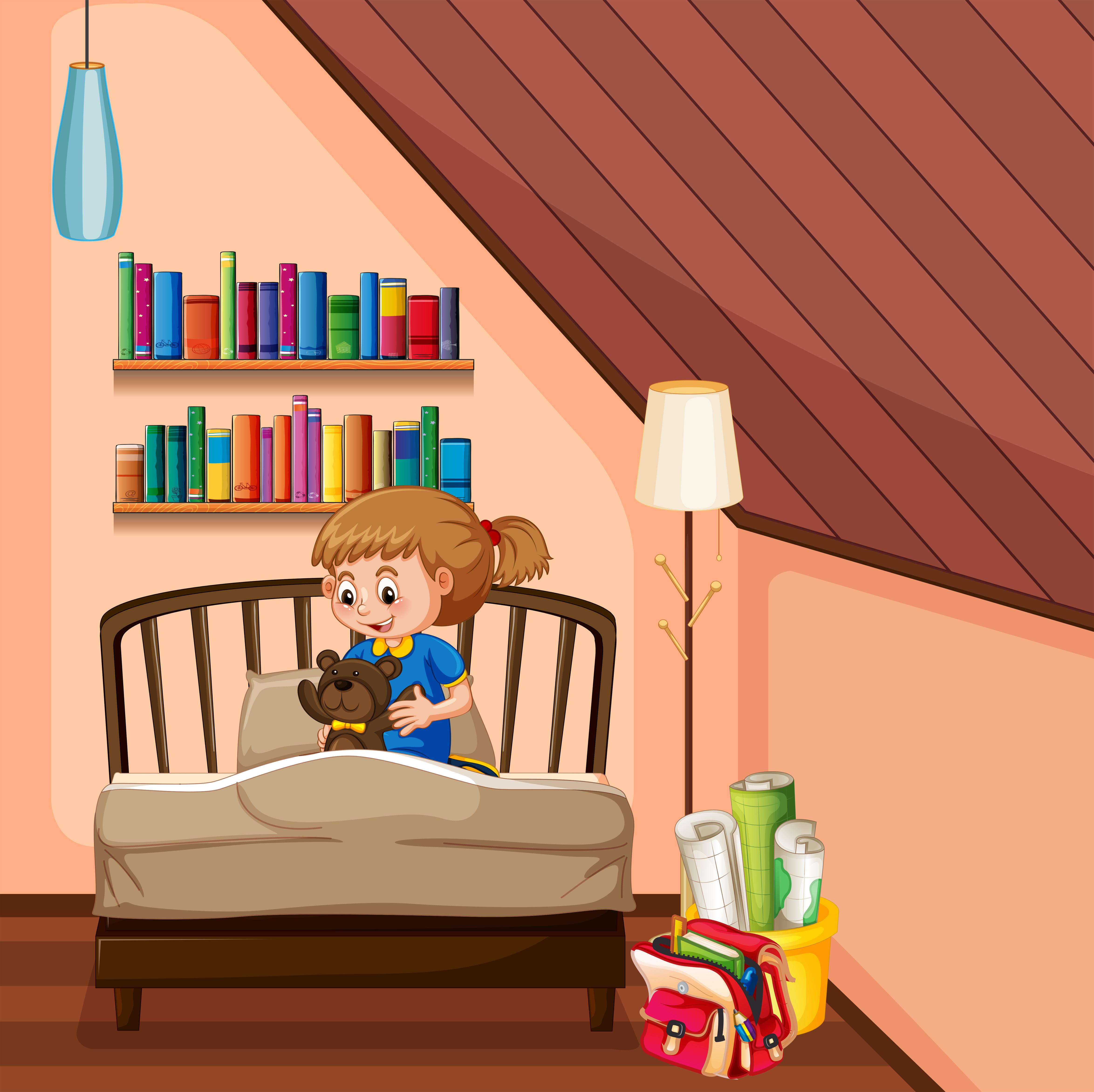Little Girl Bedroom Art: Little Girl And Teddybear In Bedroom