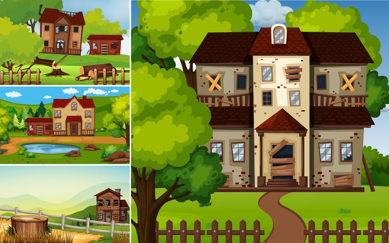Scènes avec des maisons en ruines dans le parc