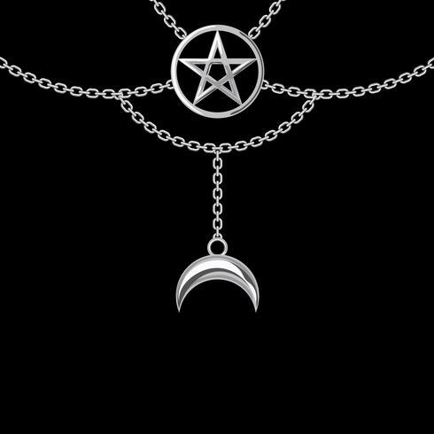 Bakgrund med silver metallhalsband. Pentagram hänge och kedjor. På svart. Vektor illustration