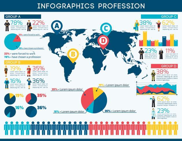 Conjunto infográfico de profesión vector