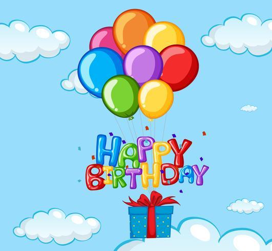 Grattis på födelsedagskort med ballonger och present
