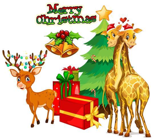 Tema di Natale con cervi e giraffe
