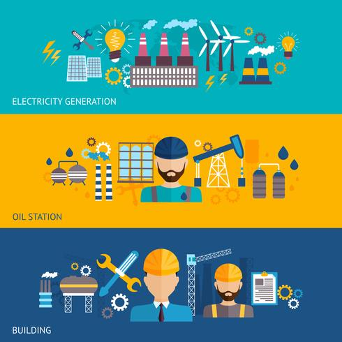 Industriële banner set vector
