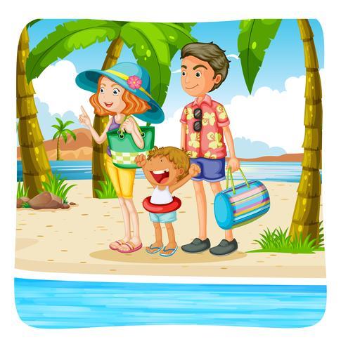 Família tomando férias na praia