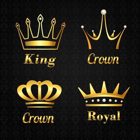 Conjunto de etiquetas de corona dorada