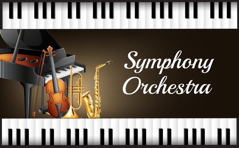 Bakgrundsdesign med instrument för symfoniorkester