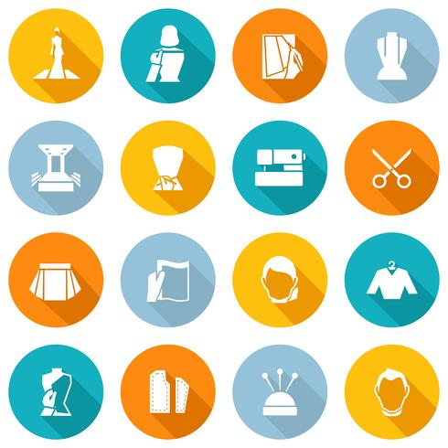 Iconos de diseñador de ropa plana