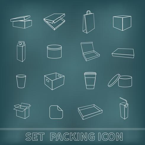 Set di icone di imballaggio