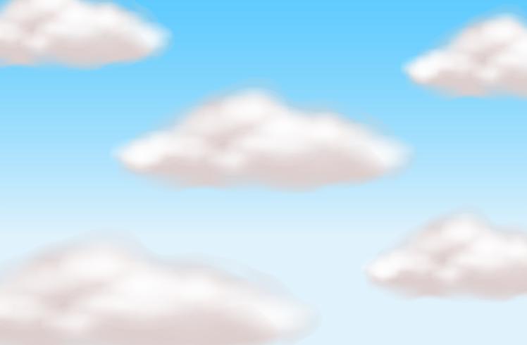 Escena de fondo con nubes en el cielo azul