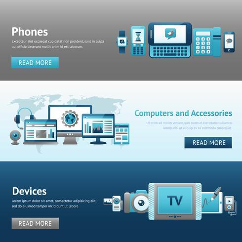 Conjunto de banners de diseño de dispositivos
