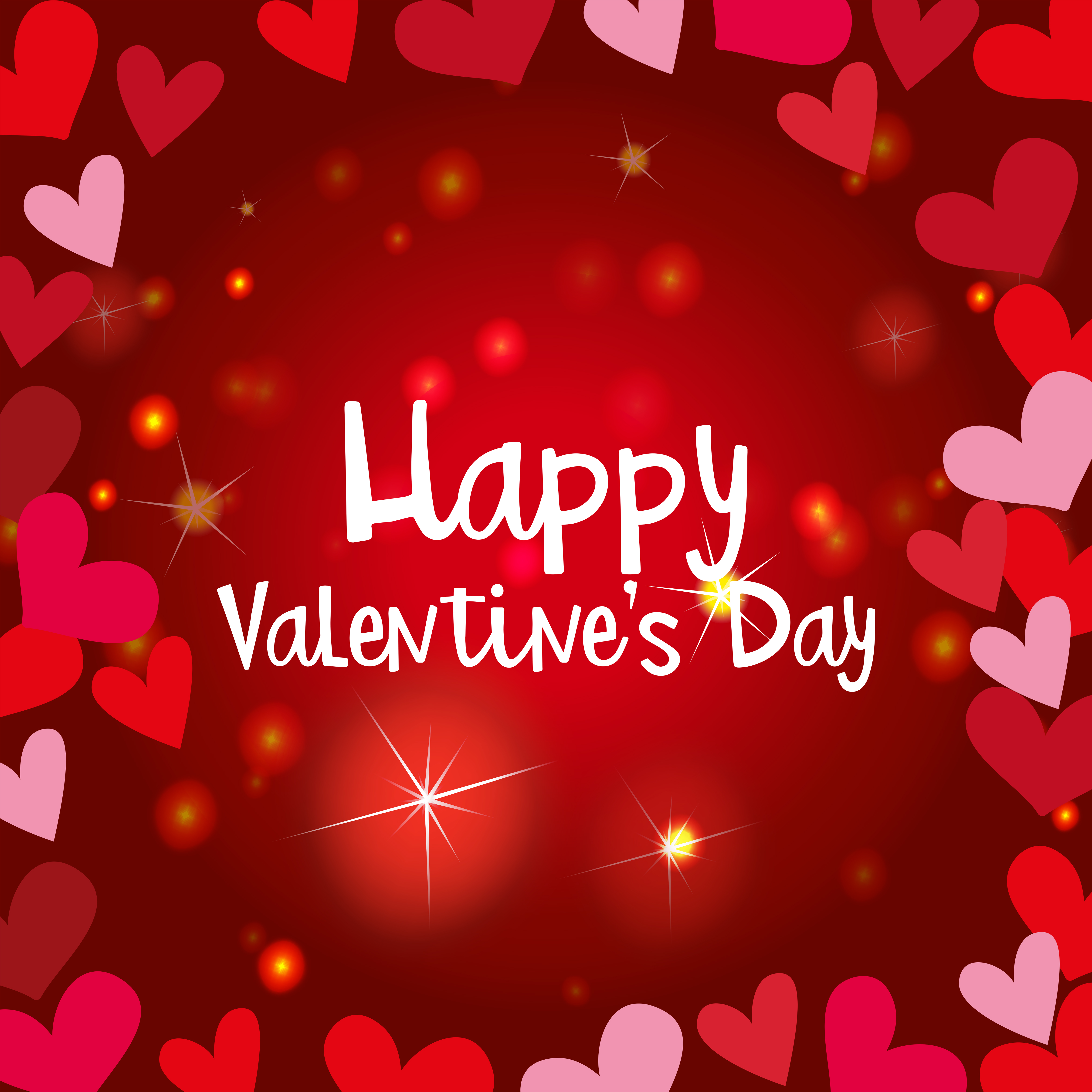 Happy valentine card template with shiny hearts - Download ...