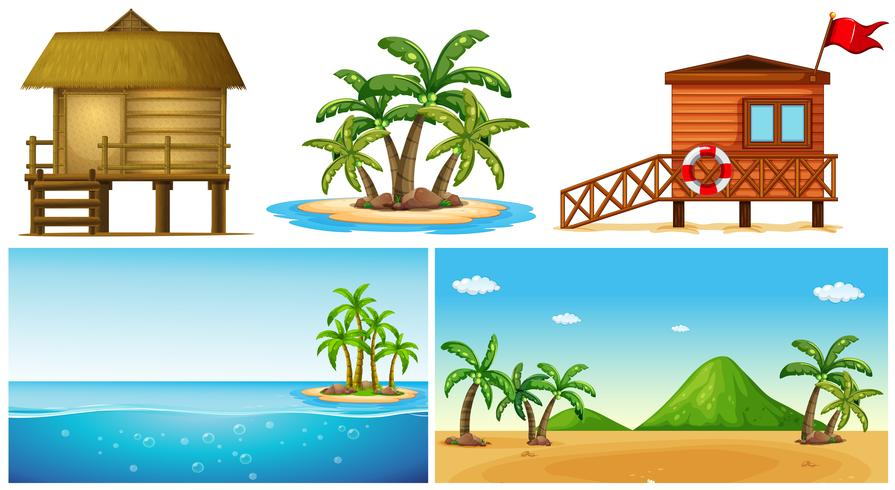 Ocean scenes with island and lifeguard house