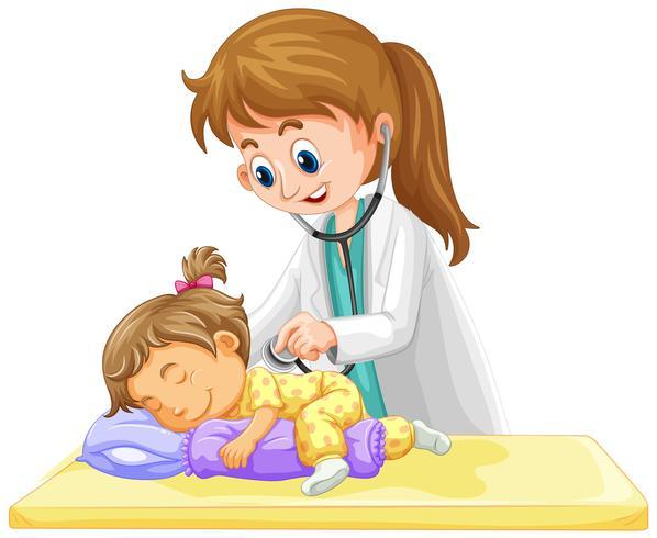 Doctor que controla para arriba en niña pequeña