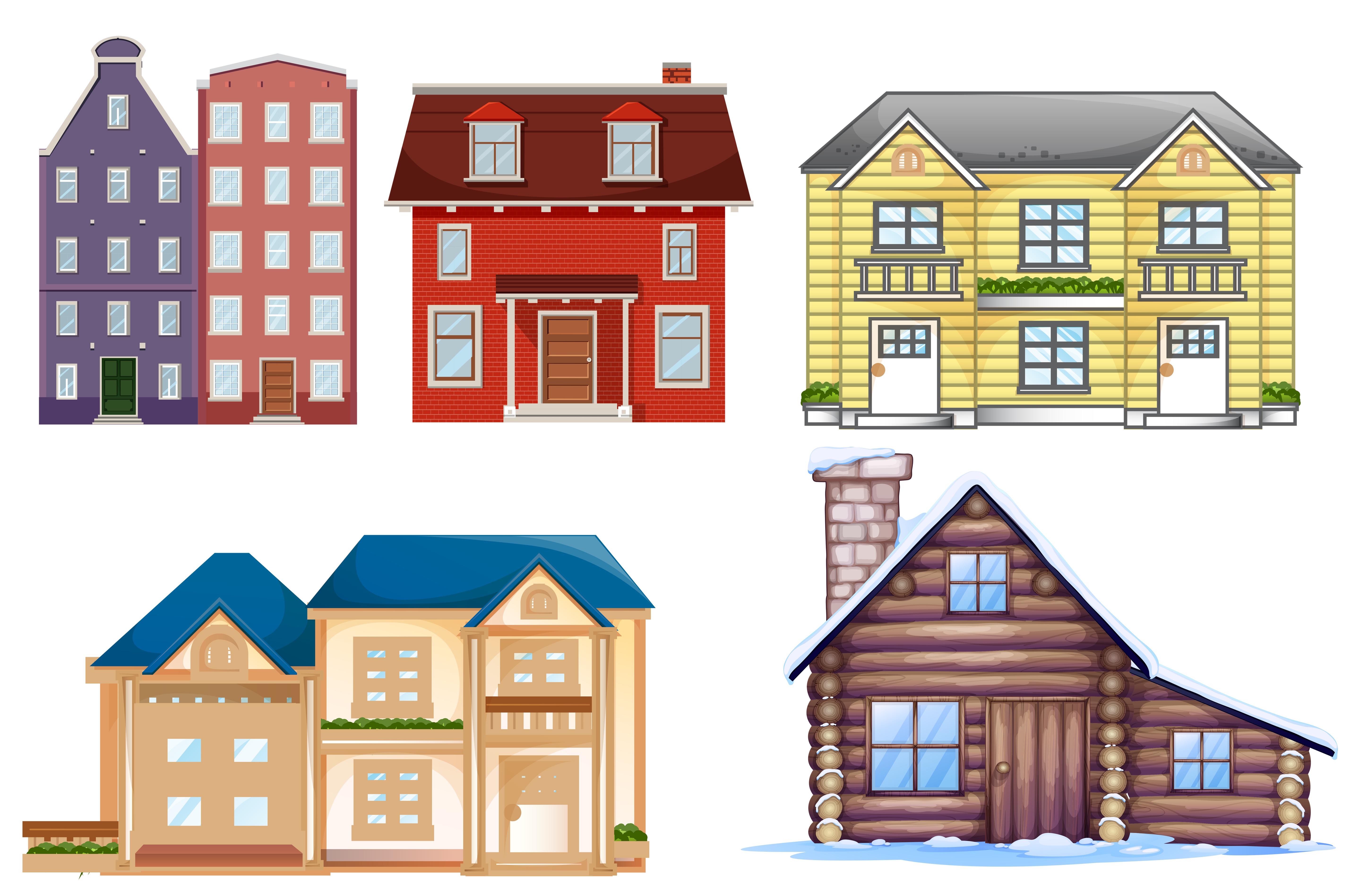 Set of different building - Download Free Vectors, Clipart Graphics & Vector Art