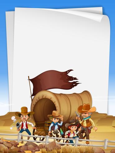 Modello di carta con i cowboy nel campo