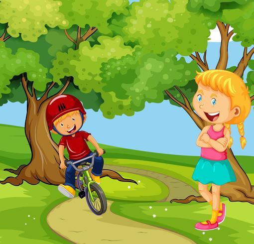 Pojke cykel i parken vektor