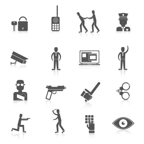 Säkerhetsvakt svarta ikoner vektor