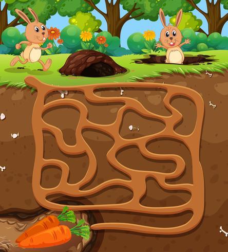 Kaninchen, das Karottenlabyrinthspiel findet
