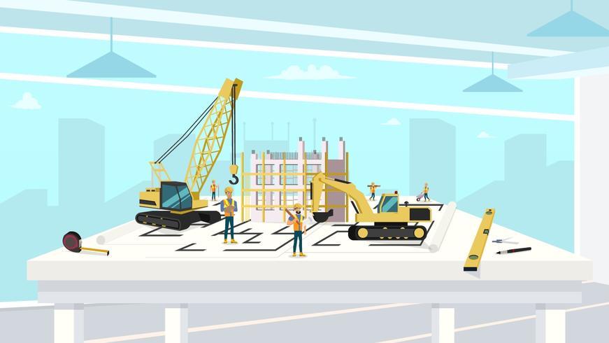Proyecto en Arquitecto Oficina de Construcción Casa vector