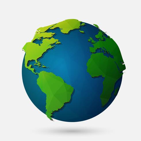 Ilustração de terra baixa poli vector. Ícone globo poligonal
