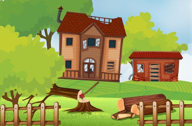 Oude huizen in het veld vector