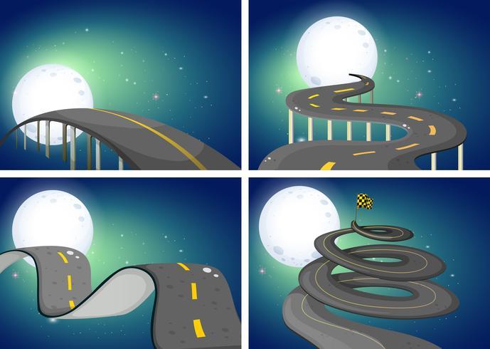 Quatro cenas noturnas de estradas vazias