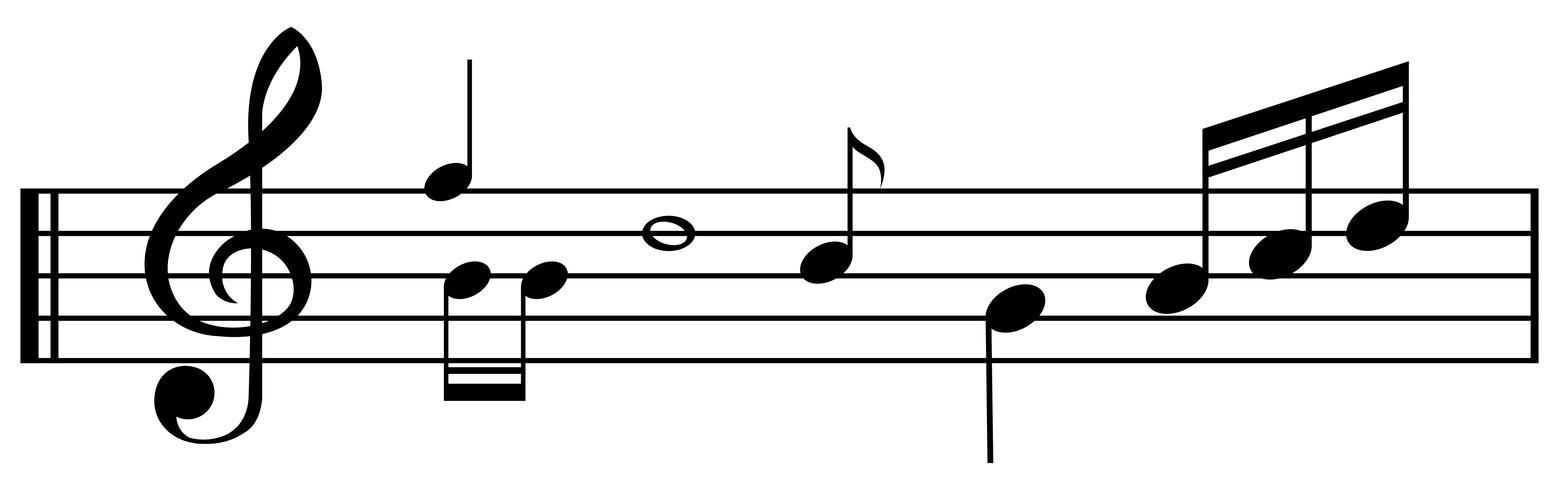 Musikanteckningar på skalanlinjen