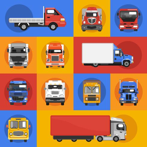 Truck Icons Flat vector