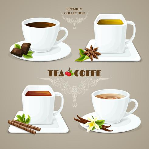 Tea and coffee cups set vector