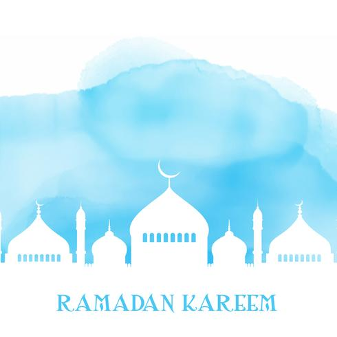 Ramadan Kareem-achtergrond met moskeesilhouet op waterverftextuur